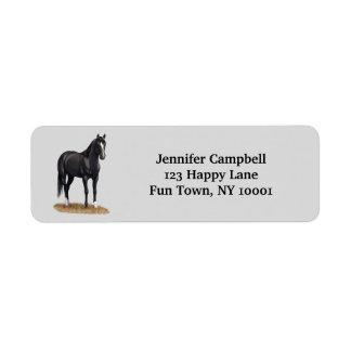 Pretty Black Quarter Horse Label