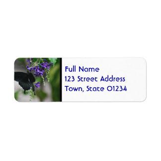 Pretty Black Swallowtail Butterfly Custom Return Address Label