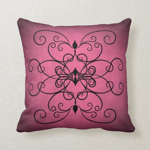 Black And Pink Hearts And Swirls Throw Pillows Zazzle