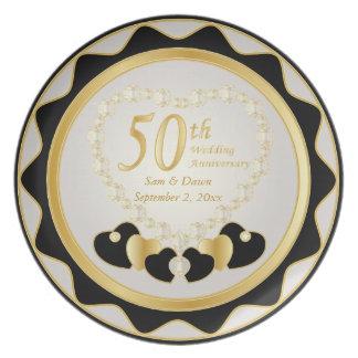 Pretty Black, White and Golden 50th Anniversary Dinner Plate