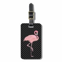 Pretty Black & White Polka Dots with Flamingo Luggage Tag