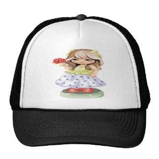 Pretty Blond Girl Holding a Red Flower Trucker Hat