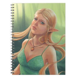 Pretty Blonde Elven Girl in Green Dress Spiral Notebook