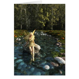 Pretty Blonde Fairy Paddling in a Forest Stream Card