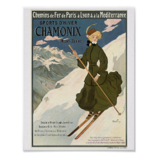 Pretty Blonde Girl Skiing in Chamonix Poster