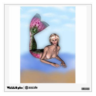 Pretty blonde mermaid laying on the beach wall sticker