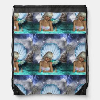 Pretty Blonde Mermaid Drawstring Bag