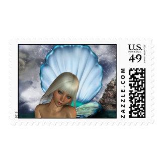 Pretty Blonde Mermaid Stamp