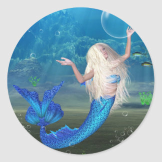 Pretty Blonde Mermaid with Bubble Classic Round Sticker