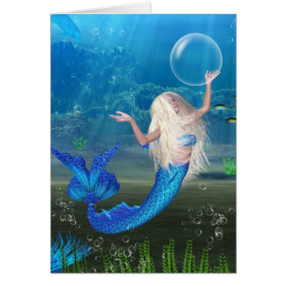 Pretty Blonde Mermaid with Bubble Greeting Card