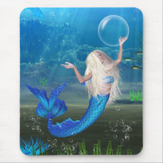 Pretty Blonde Mermaid with Bubble Mouse Pad