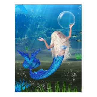 Pretty Blonde Mermaid with Bubble Postcard