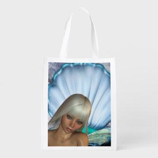 Pretty Blonde Mermaid Grocery Bag