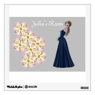 Pretty blonde woman in a beautiful long gown wall sticker