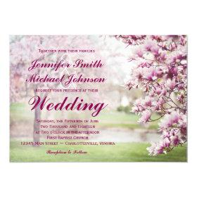 Pretty Blooming Magnolia Tree Wedding Invitations