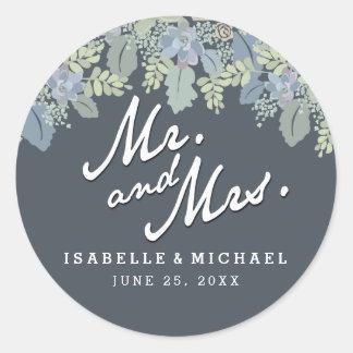 Pretty Blooms Vintage Garden Wedding Mr & Mrs Classic Round Sticker