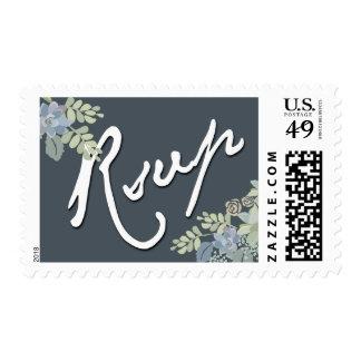 Pretty Blooms Vintage Garden Wedding RSVP Stamp