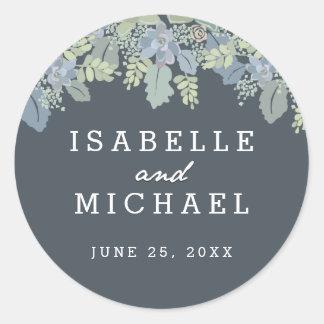 Pretty Blooms Vintage Garden Wedding Seals Classic Round Sticker