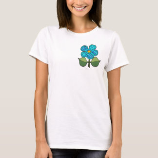 Pretty Blossom - Aqua & Blue tartan plaid T-Shirt