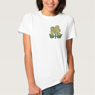 Pretty Blossom - Green with gold outline Tee Shirt