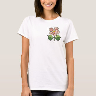 Pretty Blossom - Red tapestry pattern with peach T-Shirt