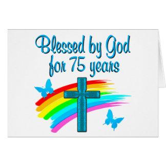 PRETTY BLUE 75TH BIRTHDAY CHRISTIAN DESIGN CARD