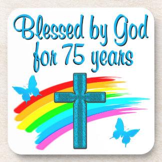 PRETTY BLUE 75TH BIRTHDAY CHRISTIAN DESIGN COASTER