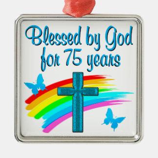 PRETTY BLUE 75TH BIRTHDAY CHRISTIAN DESIGN METAL ORNAMENT