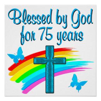 PRETTY BLUE 75TH BIRTHDAY CHRISTIAN DESIGN POSTER