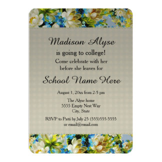 """Pretty Blue and Cream Floral """"Off to College"""" Card"""