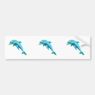 pretty blue and green dolphin bumper sticker