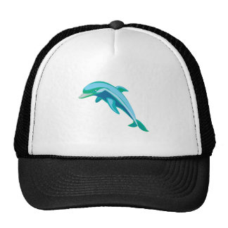 pretty blue and green dolphin trucker hat