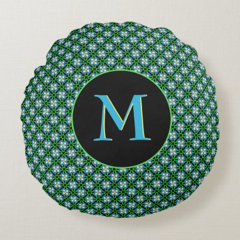 Pretty Blue and Green Flowers Pattern Monogram Round Pillow