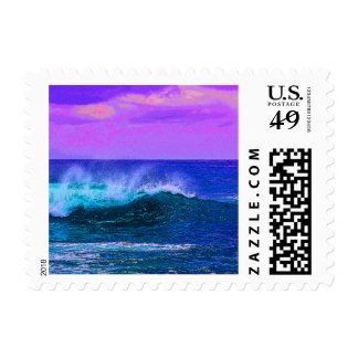 Pretty Blue and Lavender Ocean Landscape Postage