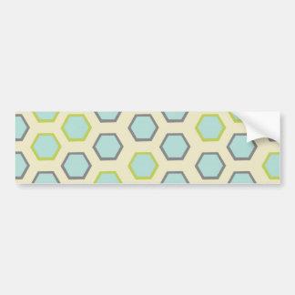 Pretty Blue and Lime Green Hexagon Tile Pattern Bumper Sticker