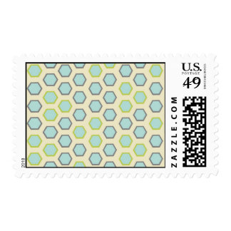 Pretty Blue and Lime Green Hexagon Tile Pattern Postage