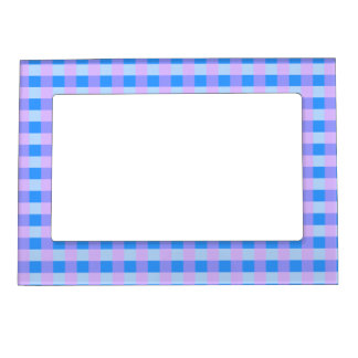 Pretty Blue and Pink Fresh Gingham Pattern Magnetic Frame