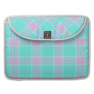 pretty blue and pink plaid macbook sleeve