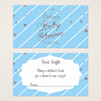 Pretty Blue and Silver - Baby Shower Book Raffle Business Card