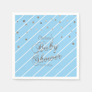 Pretty Blue and Silver - Baby Shower Napkin