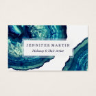 Pretty Blue and Teal Agate Geode Stone on Blue Business Card
