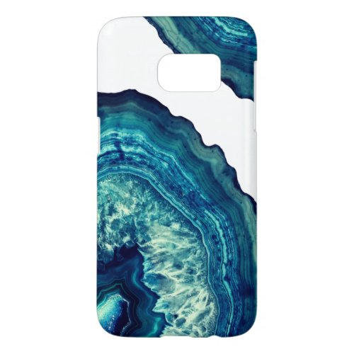 Pretty Blue and Teal Agate Geode Stone on Blue Phone Case