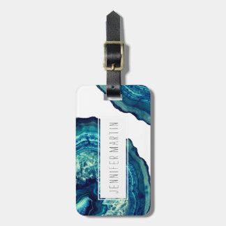 Pretty Blue and Teal Agate Geode Stone on Blue Tag For Luggage