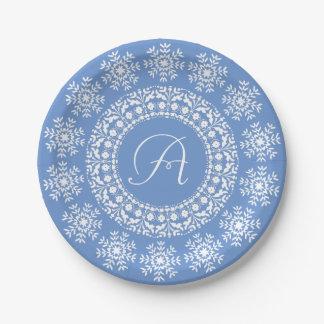 Pretty Blue and White Custom Monogram Paper Plate