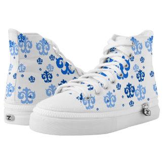 Pretty Blue and White Fleur de Lis Pattern High-Top Sneakers