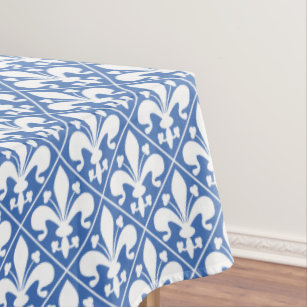 Beau Pretty Blue And White French Fleur De Lys Tablecloth