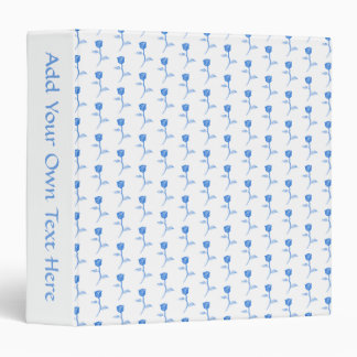 Pretty Blue and White Roses Pattern. Binder