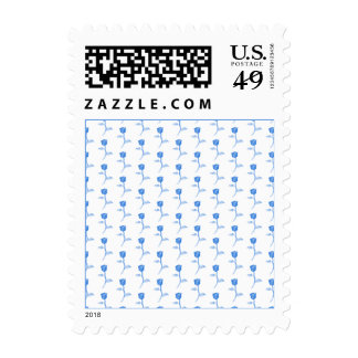 Pretty Blue and White Roses Pattern. Stamp