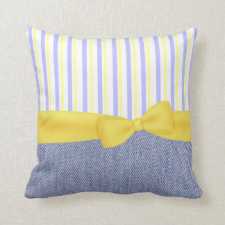 Pretty Blue and Yellow Accent Pillow