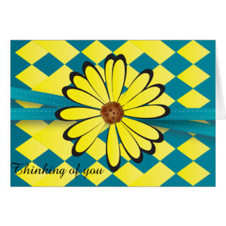 Pretty Blue and Yellow Flower Design Card